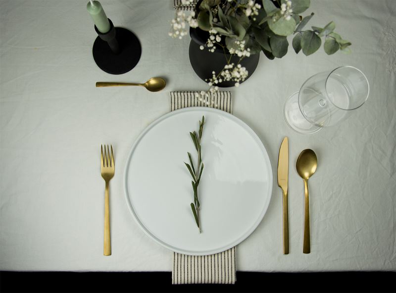This gold colored flatware looks stunning on your table